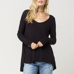 Free People Black Malibu Thermal Waffle Top NWT